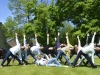 Group of people all in the same yoga pose on a field of grass in the sun