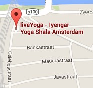 map showing the location of liveyoga yoga studio in east Amsterdam