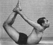 BKS Iyengar in a pose called DANURASANA