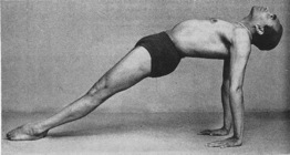BKS Iyengar in a yoga pose called Purvottanasana