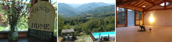 3 images of the accommodation during the yoga food nature retreat in italy