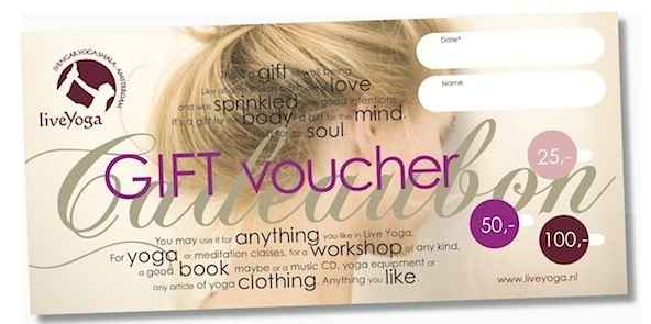 LiveYoga pre-printed gift cards