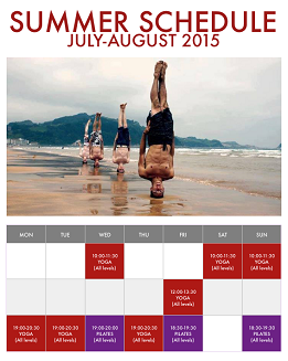 Summer schedule at LiveYoga 2015