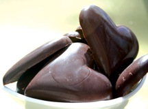heart-shaped raw chocolate bonbons