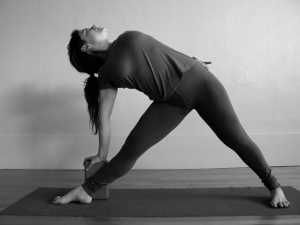 trikonasana with a block
