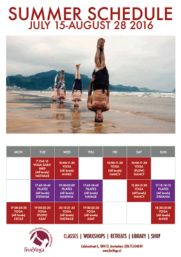 Summer schedule at LiveYoga 2016