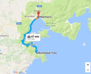 Iyengar Yoga Retreat in Turkey with Asaf Hacmon - Map Kumlubuk