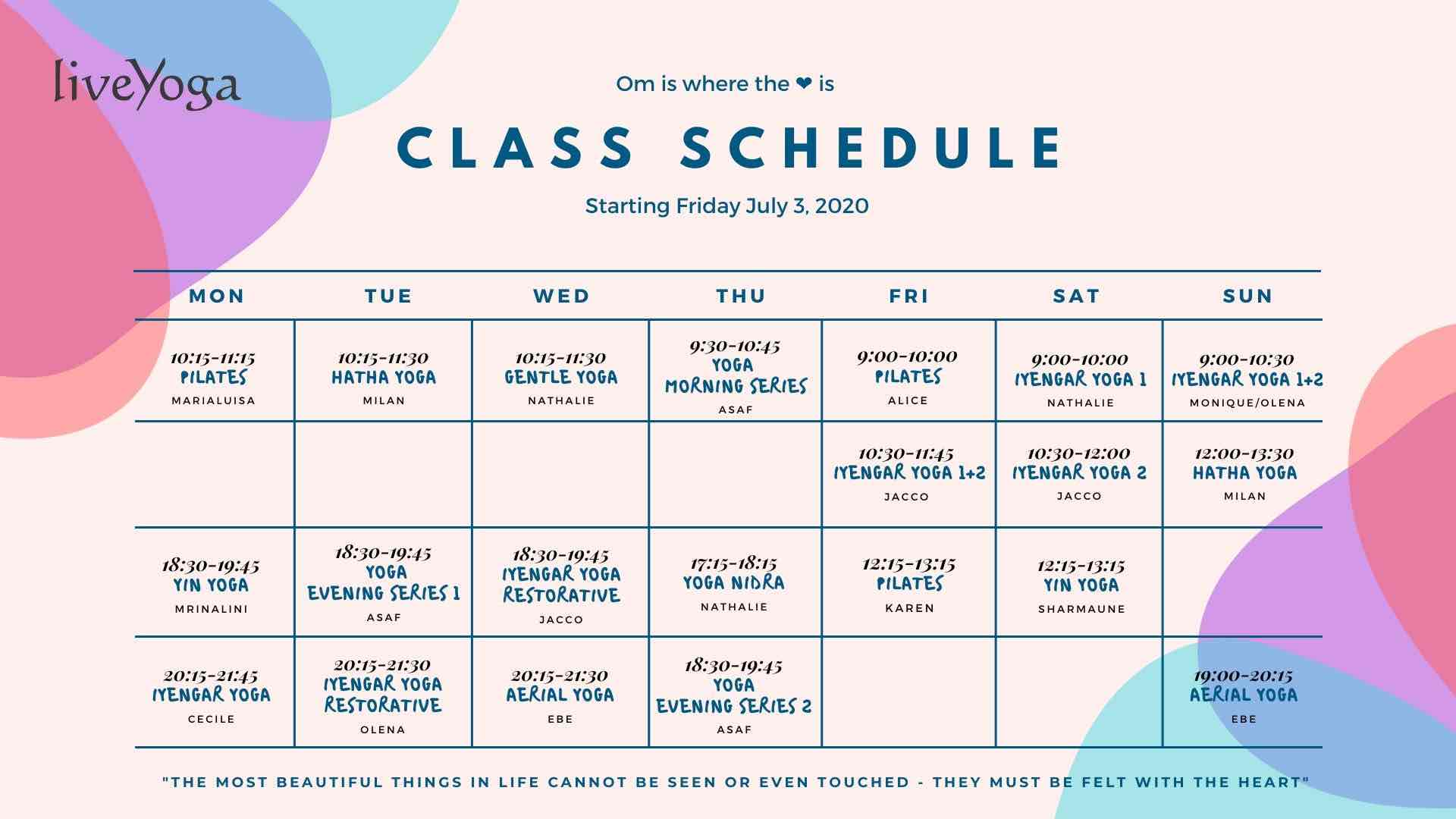 class schedule liveyoga amsterdam